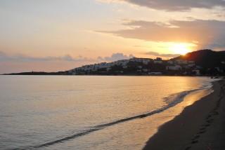 location irini tinos laouti beach sunset